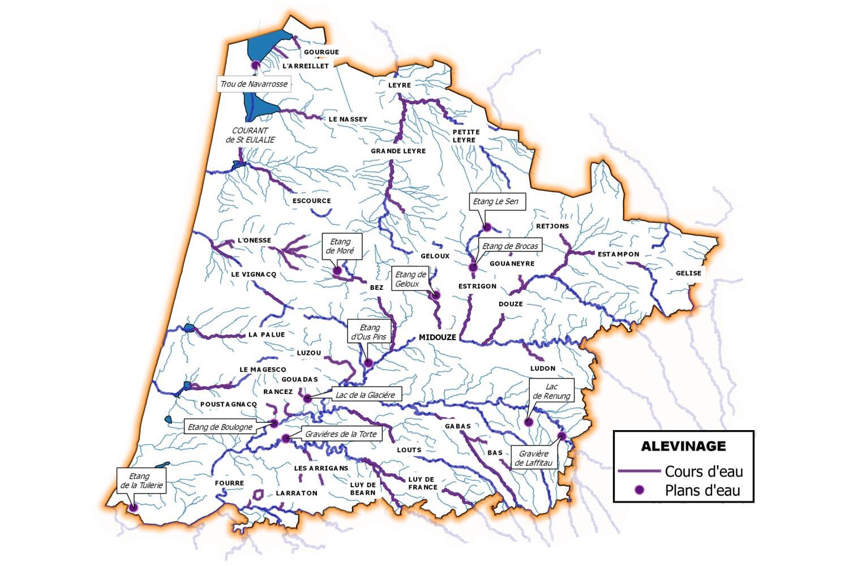 Carte du département des Landes avec lieux des empoissonnements en truites