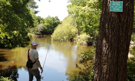 Pêcheur sur le parcours no-kill brochet à mimizan