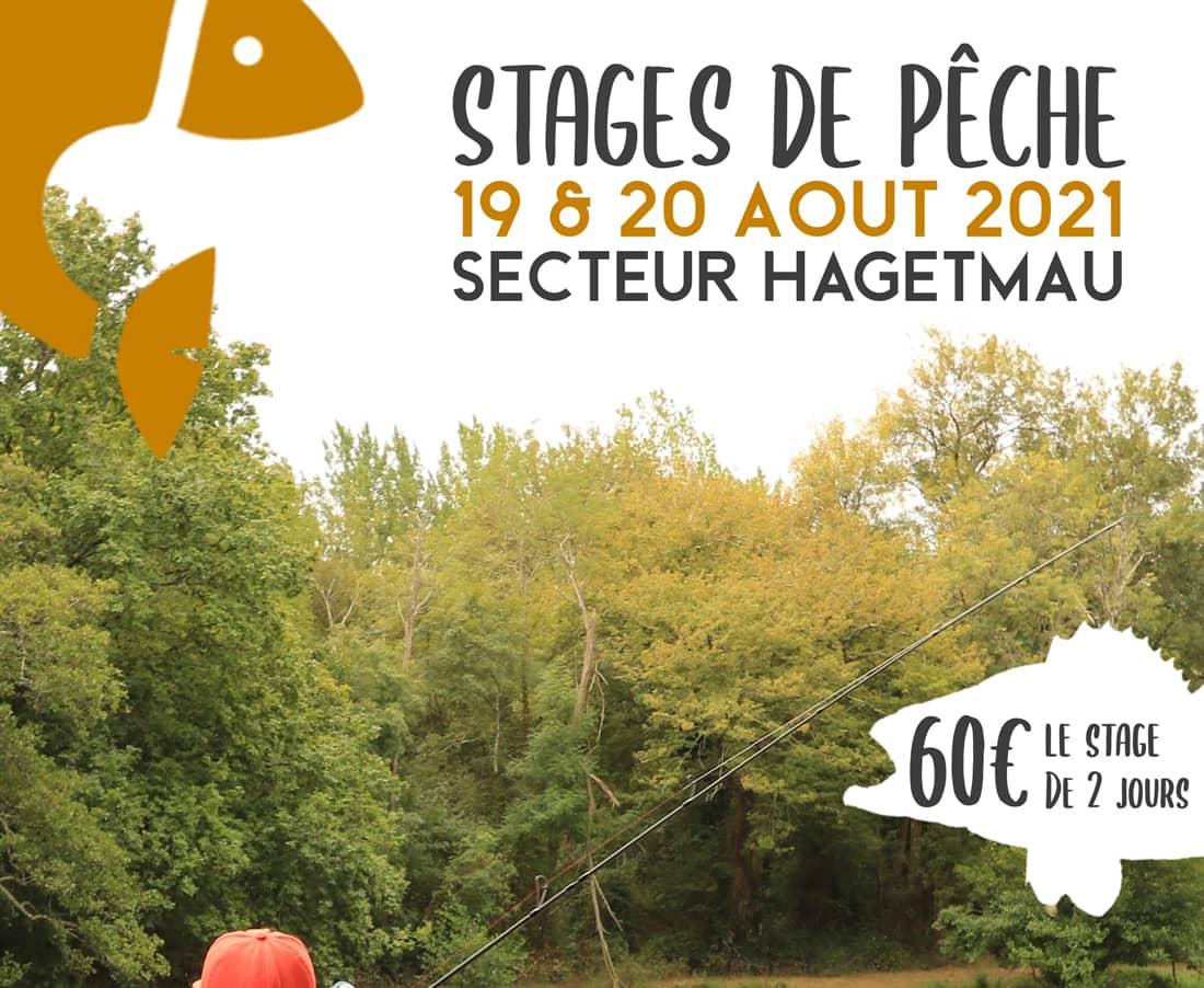 Affiche promotionnelle du stage de pêche des carnassuiers les 19 et 20 août 2021 à Hagetmau