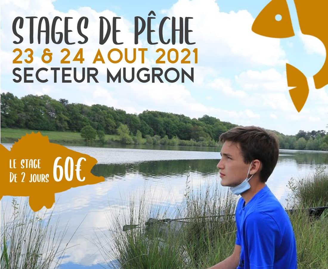 Affiche promotionnelle du stage de pêche au coup à Mugron les 23 et 24 août 2021