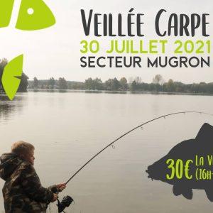 Affiche promotionnelle de la veillée carpe à Mugron du 16 07 21
