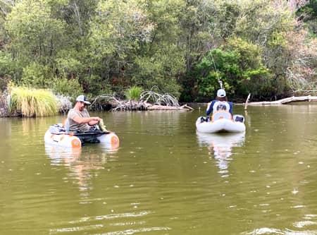 Float-tube sur la lagune de janille